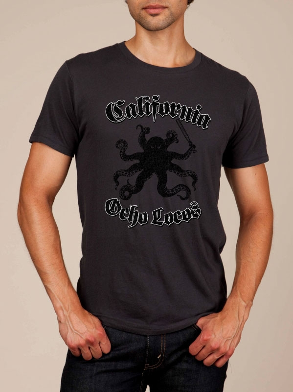 California Ocho Locos Heather Black Super Soft T-shirt